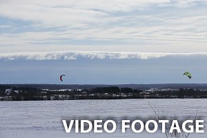 Winter snowkiting on the field.