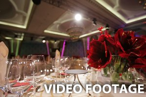Wedding banquet hall interior.