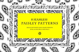 8 seamless paisley patterns