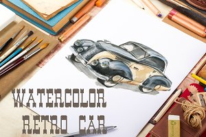 Watercolor retro car