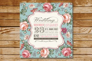 Wedding Invitation Flowers Card