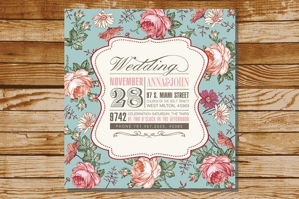 Wedding Invitation Flowers Card