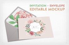 Invitation+Envelope Editable Mockup