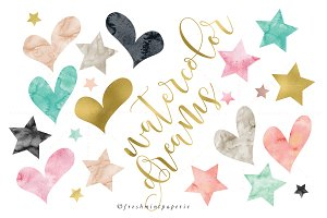 watercolor hearts & stars clipart