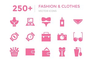 250+ Fashion and Clothes Vector Icon