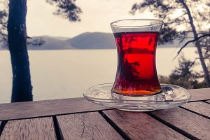 Tea glass with seaview