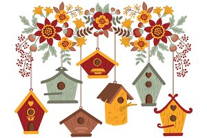 Autumn Flowers with Bird Houses