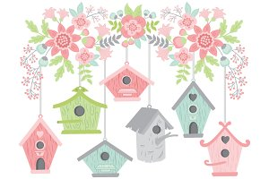 Flowers with Bird Houses