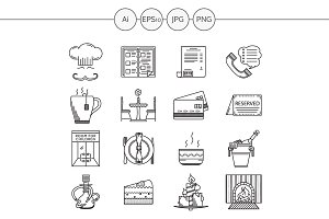 Restaurant service line icons. Set 2