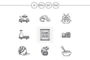 Japanese restaurant flat line icons