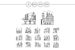 Industrial building line icon. Set 1