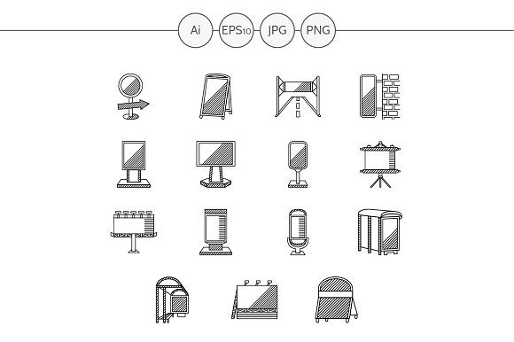 Outdoors advertising icons. Set 1 - Icons