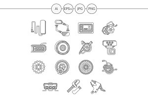 Electric bike accessories line icons