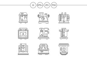 Coffee making equipment line icons
