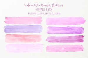 Watercolor Brush Strokes Purple Haze