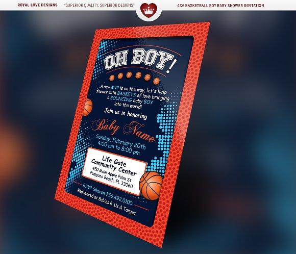 basketball boy baby shower bundle invitation templates creative