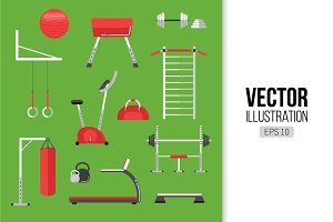 Sport equipment flat icons, gym