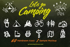 Let's go Camping:60 hand-drawn icons