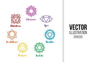 Indian Chakra icon set. Yoga mandala