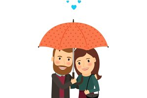Couple in love under umbrella