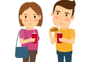 Man and woman with fast food