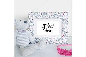 Styled floral frame mockup - girls