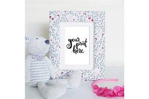 Styled floral frame mockup - girls 3