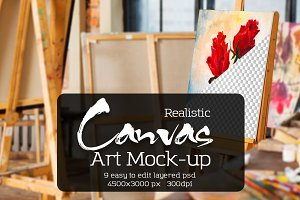 Art Canvas Realistic Gallery Mock-Up