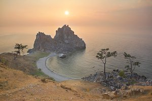 Sunset over the Lake Baikal.
