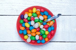 dish filled with colorful candy