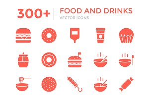300+ Food and Drinks Vector Icons