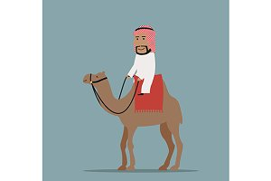 Arab businessman on camel