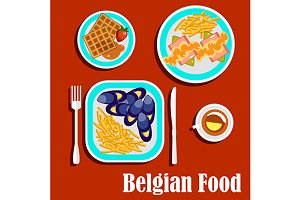 Delicious lunch of belgian cuisine