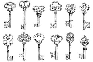 Vintage skeleton keys sketches
