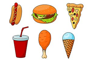 Traditional fast food menu snacks