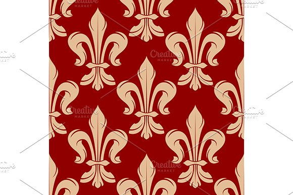 Maroon and beige floral pattern