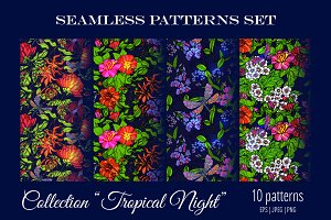 Tropical Night Seamless Pattern Set