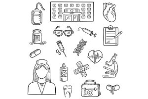 Hospital and medicine sketch objects