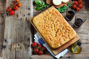 Italian homemade focaccia bread.