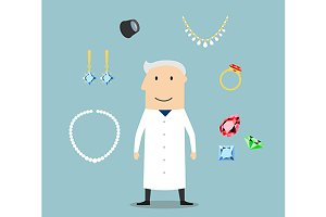 Jeweler man with jewelries and gems