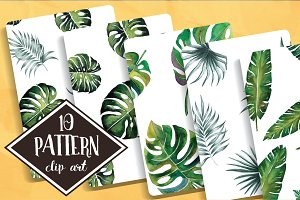 Tropical Leaves pattern watercolor