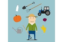 Farmer man and agriculture icons