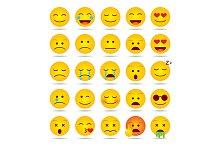Set of emoji smiles isolated