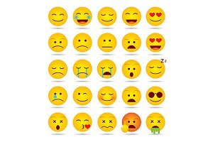 Set of emoji smiles isolated
