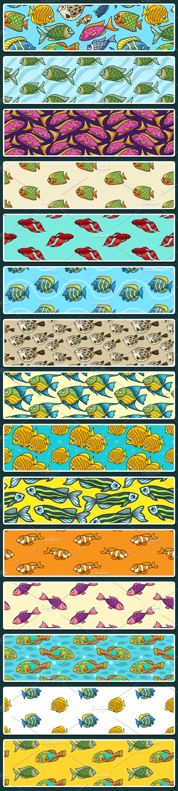 15 Fish Seamless Vector Patterns in Patterns - product preview 1