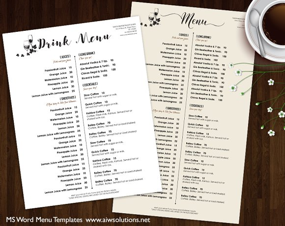 Drink Menu ~ Brochure Templates ~ Creative Market