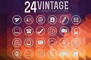 Vintage Contact Info Icon Vector Set