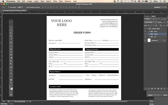 Price Sheet Order Form Template Stationery Templates Creative