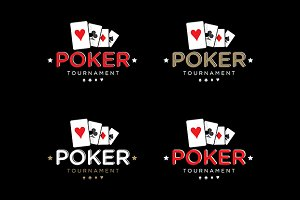 Poker vector logo template set