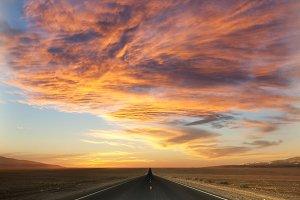 Sunset over the desert.